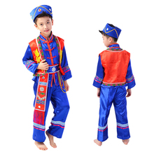 blue chinese minority dance costumes for boys chinese national dance costumes festival clothing