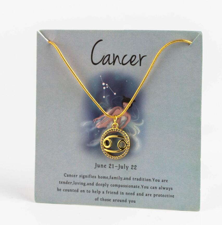 Ожерелье с подвеской в виде животных 12 созвездий для женщин, чокер для пар, массивная цепочка, ожерелье золотого цвета, Знак зодиака с коробкой для карт - Окраска металла: 2