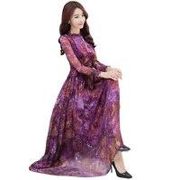 Шелк элегантная женская одежда 2018 Демисезонный с длинными рукавами высокое качество платье с принтом Модные макси Вечерние Платье WF079