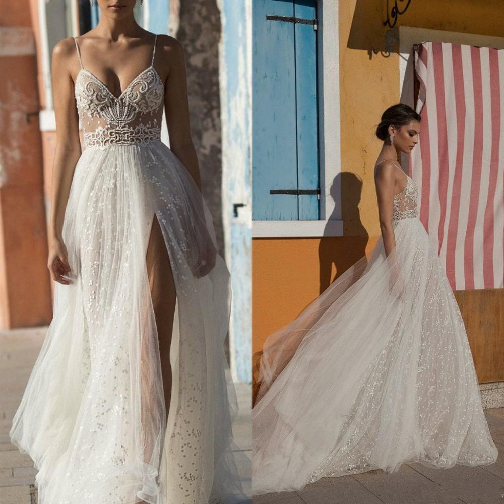 2020 Gali Karten Wedding Dresses Side Split Spaghetti Illusion Boho Wedding Gowns Sweep Train Pearls Backless Bohemian Bride