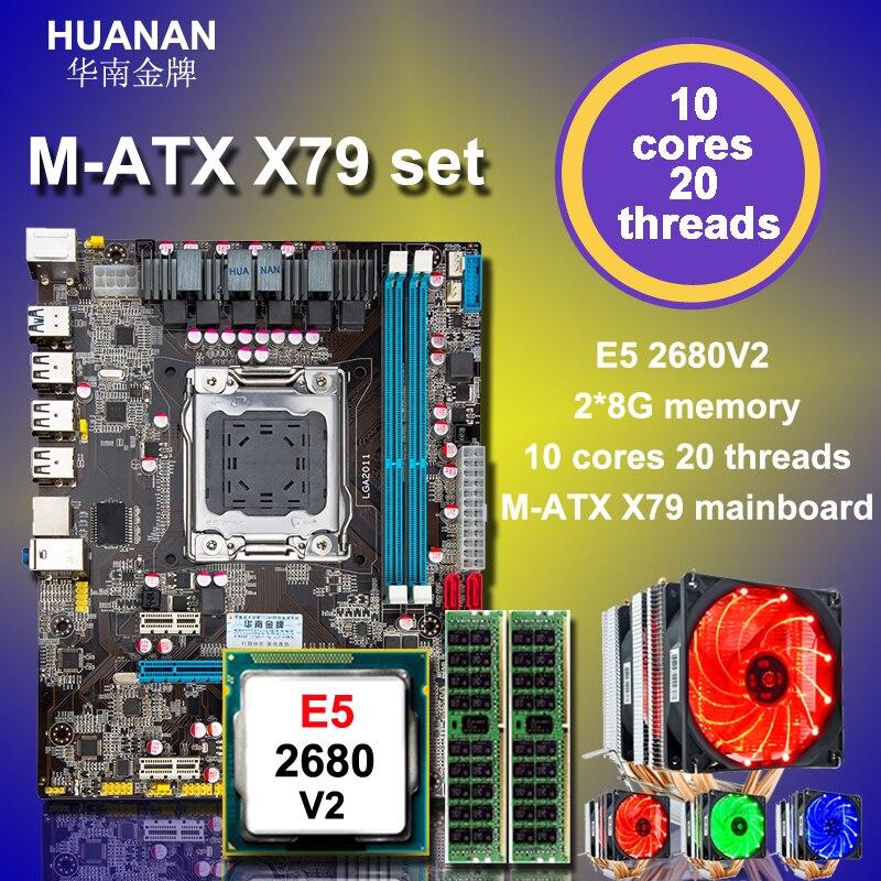 Caliente HUANAN ZHI micro-atx X79 placa base Intel xeon E5 2680 V2 SR1A6 con 6 heatpipes refrigerador RAM 16G (2*8g) DDR3 1600 MHz REG ECC