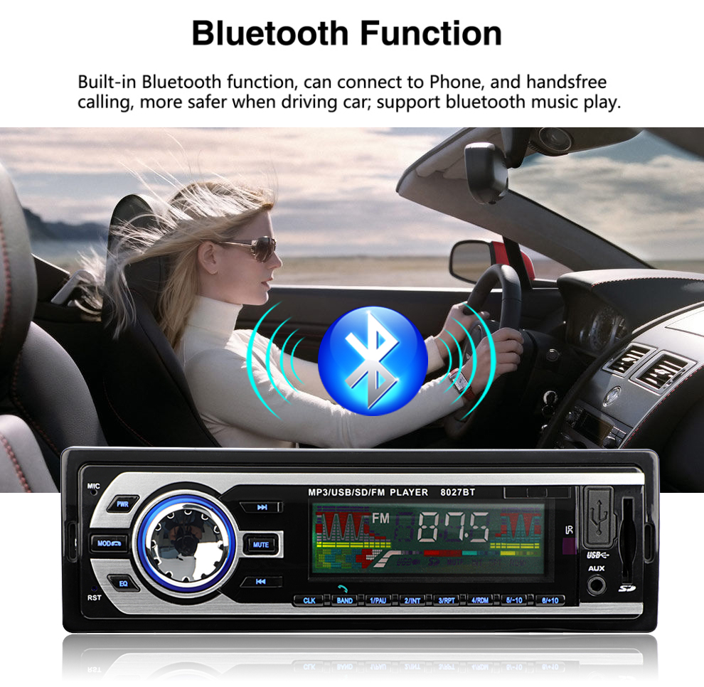 8027bt Universal 1 Din Bluetooth Car Radio 1din Audio Stereo Fm Automobile Interior Lights Fader Sd Mp3 Player Aux Usb Electronics With Remote Control In Players From