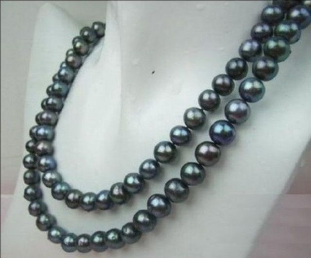 Hot sale new Style >>>>>Natural AA+ 8-9MM TAHITIAN BLACK PEARL NECKLACE 32""