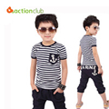 2016 clothing sets summer models navy wind stripe suit boys girls summer short-sleeved fashion trousers children clothing set