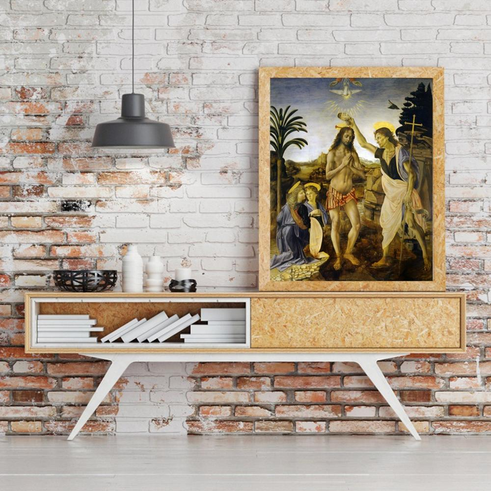 Laeacco Canvas Calligraphy Painting Classic Leonardo da Vinci Christ 39 s Baptism Posters Prints Wall Art Living Room Home Decor in Painting amp Calligraphy from Home amp Garden