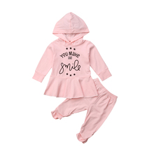 2Pcs Toddler Kid Baby Girl Tops Hooded Tops Long Sleeve Dress Pants Outfits Clothes Set 2019 цена и фото