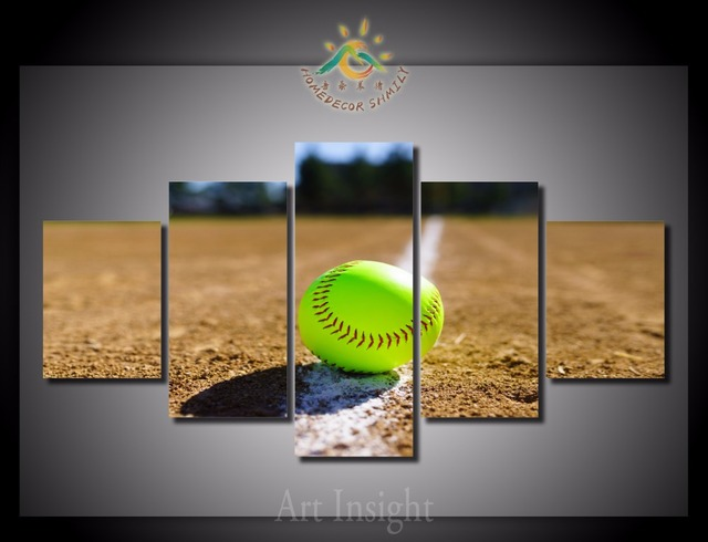US $17 0  Aliexpress com : Buy 5 Pieces/set Group Softball Wall Art for  Living Room Home Decoration Modern Canvas Print Wall Painting Posters and