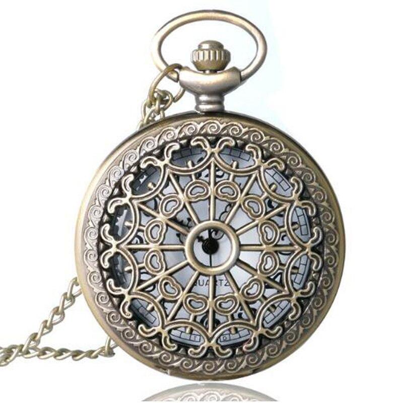 Relogio De Bolso Bronze Antique Vintage Quartz Steampunk Pocket Watch Spider Web Hollow Women Men Pendant Necklace Chain Gifts