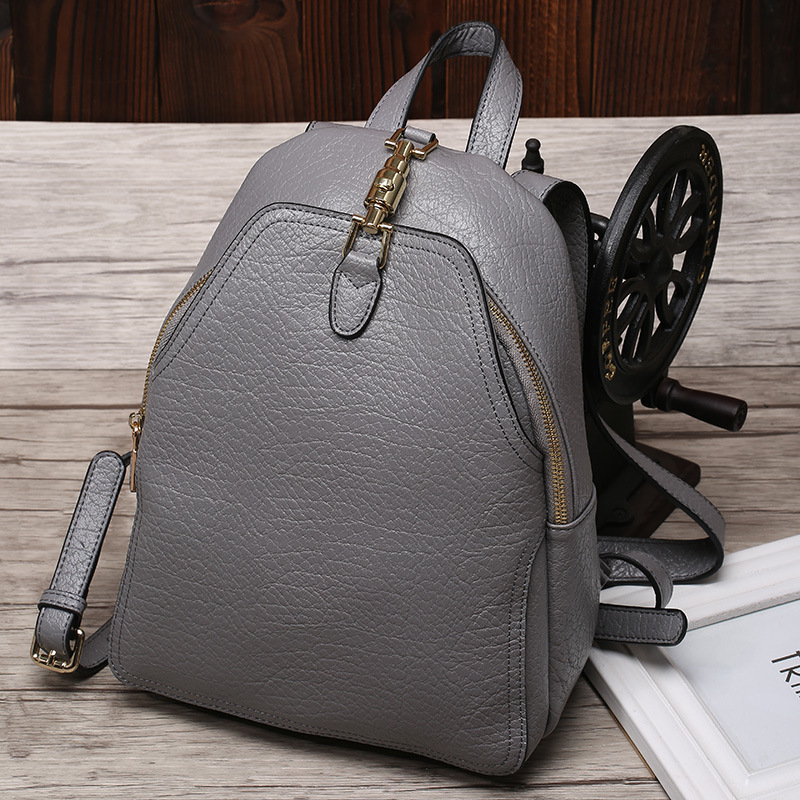 New Casual Women Backpack Genuine Leather Teenage Girls College Student School Shoulder Bag Women Travel Bag  Ladies Black Bags new arrival black genuine leather women backpack for teenage girls school bag fashion travel ladies shoulder bags bolsas mochila