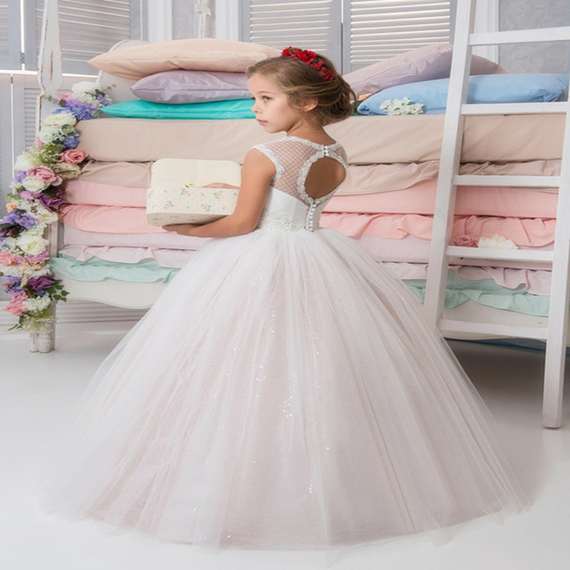 Fashion Lace Applique Pageant Kids Princess Gowns O-neck leeveless Custom Made First Communion Party Gowns