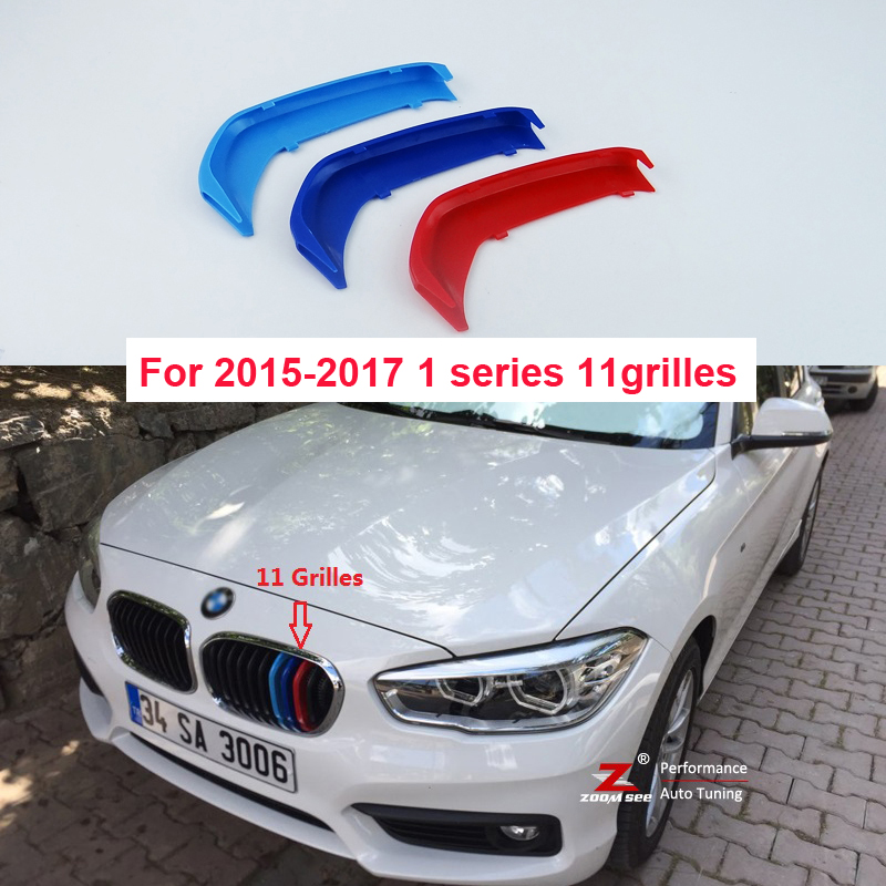 3D M Front Grille motorsport Strips grill Cover Stickers For 2015-2017 BMW 1 series F20 F21 (11 Grilles) motorsport manager [pc jewel]