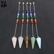 YJXP Wholesale 10pcs/lot 30x12mm Cone Pendants Reiki Healing Natural Stones Crystal 7 Chakra Hexagon Pyramid Pendulum Pendant