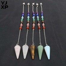 YJXP toptan 10 adet/grup 30x12mm koni kolye Reiki şifa doğal taşlar kristal 7 çakra altıgen piramit sarkaç kolye