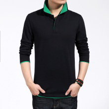 The new han edition Men's long sleeve shirt Cultivate one's morality men polo shirt collar cotton