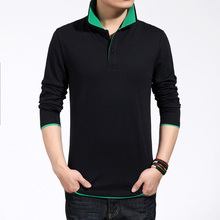 The new han version Men's lengthy sleeve shirt Cultivate one's morality males polo shirt collar cotton