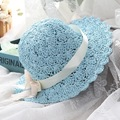 Children Summer Hat Girls bow Hand Crochet Hat Visor Hat cute bow sun hat