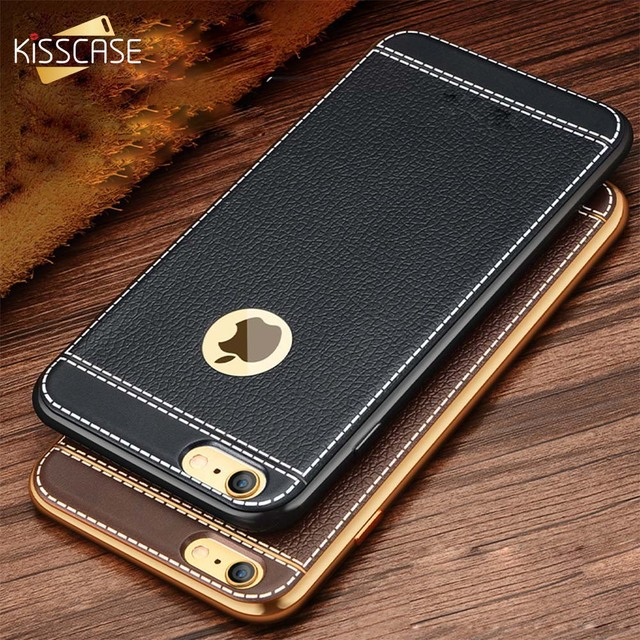 KISSCASE Gold Plated Case For iPhone 6S 6 7 8 Plus 5S 5 SE Cover 3D Embossed Litchi TPU Phone Cases For iPhone 5S 5 SE X Shells