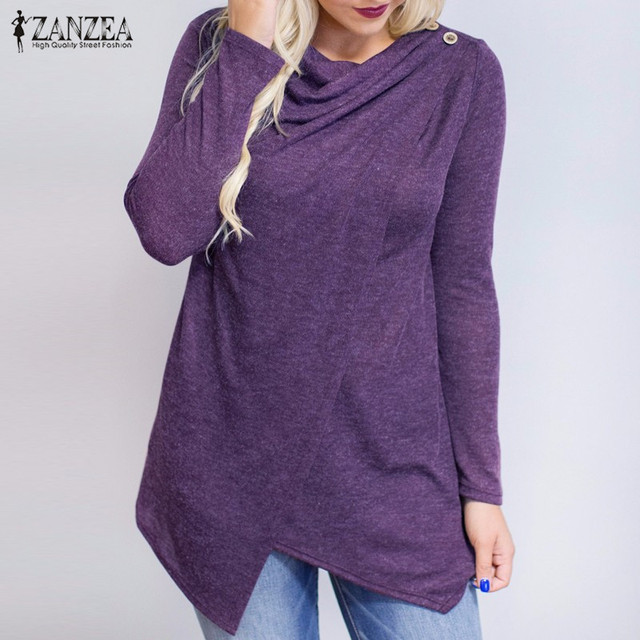 2018 Autumn ZANZEA Women Outerwear Cardigan Long Sleeve O Neck Female Casual Loose Blouses Shirts Solid Asymmetrical Blusas Tops 3