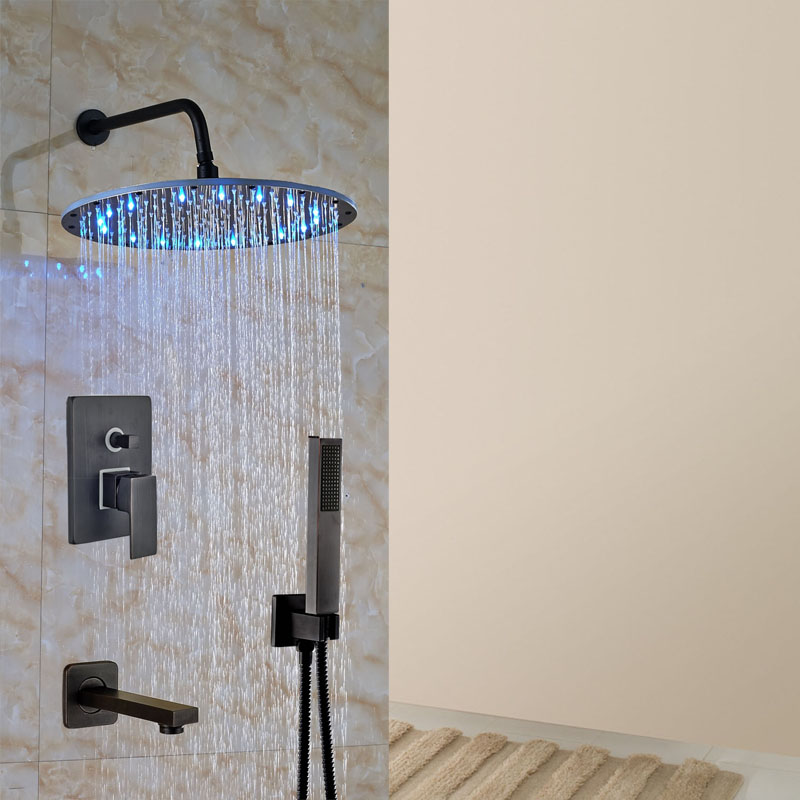 Luxury 16 Bathtub Shower Set Oil Rubbed Bronze LED Light Shower Wall Mount W/handheld