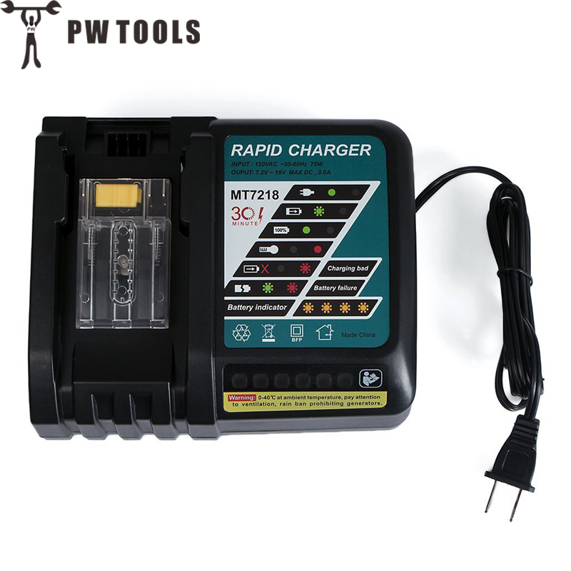 PW TOOLS Battery Charger Built-in Fan Built-in Circuit Protection Integrated Microchip Safe Fast Charger for Makita 14.4V to 18V цена и фото