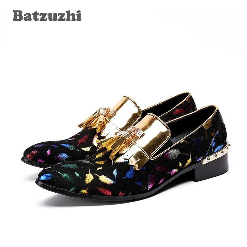 Batzuzhi Luxury Men Shoes Party Wedding Handmade Loafers Men Leather Shoes with Gold Metal Tassel Dress Shoes Zapatos Hombre цена