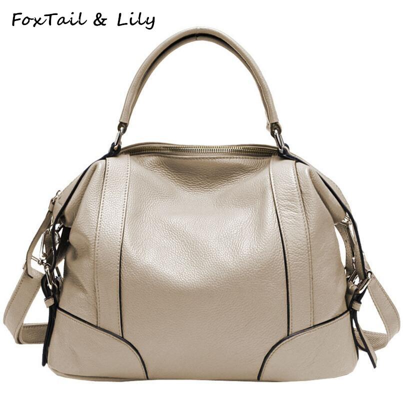 FoxTail & Lily Real Leather Bag Women Designer Handbags High Quality Genuine Leather Shoulder Messenger Bags Luxury Tote Bag chispaulo women genuine leather handbags cowhide patent famous brands designer handbags high quality tote bag bolsa tassel c165
