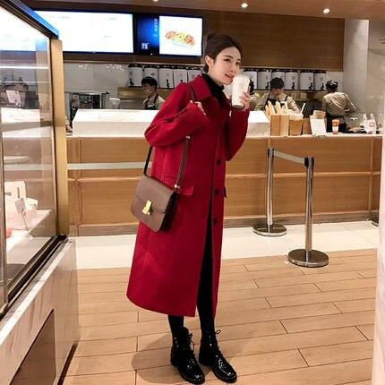 Зимнее шерстяное Женское пальто с длинным рукавом, теплое плотное шерстяное пальто, женская красная куртка, повседневное осенне зимнее эле... - 4