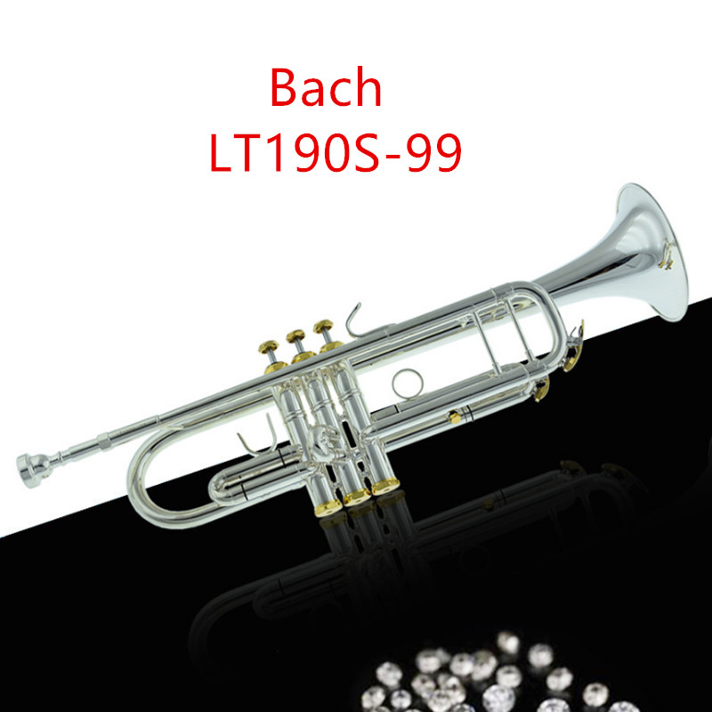Taiwan Bach LT190S-99 Trumpet Drop B Trompete Silver Plated Musical Instrument Professional Trompeta Gold Plated Bocal Trompet free shipping the trumpet vincent bach lt 180s 37 baja baja silver trumpet musical instrument playing the trumpet