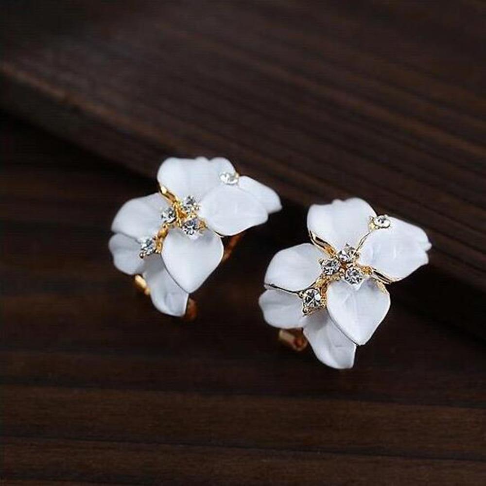 Crystal Gardenia Flower Earring Stud Gols