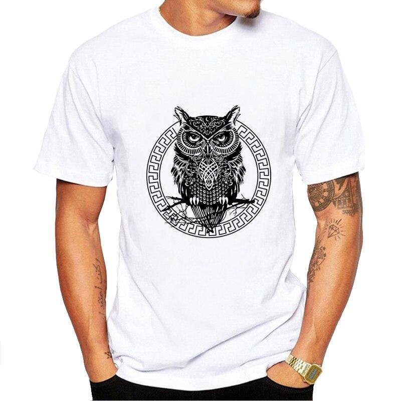 2017 warrior owl printed mens t shirt fashion short sleeve 100%cotton t-shirts Harajuku funny O-neck cool tops