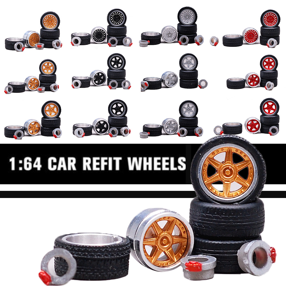 1:64 12 Styles Model Modified Tire+2axles+4end Caps Diecasts Alloy Wheel Tire Rubber Vehicles General Model Of Car Change Wheel