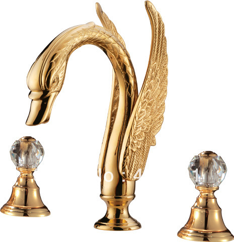 Free Shipping Pvd Gold Swan Tub Faucet Or Swan Widespread Lavtory Sink Faucet Crystal Handles