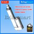 Envío gratis 6 pulgadas 150mm Doble tubo Actuador Lineal 12-48 V Dc Motor 4-50 mm/s 1000N Heavy Duty motor tubular 24 v Impermeable