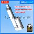 Gratis verzending 6 inch 150mm Dubbele buis Lineaire Actuator 12-48 V Dc Motor 4-50 mm/s 1000N Heavy Duty tubular motor 24 v Waterdicht