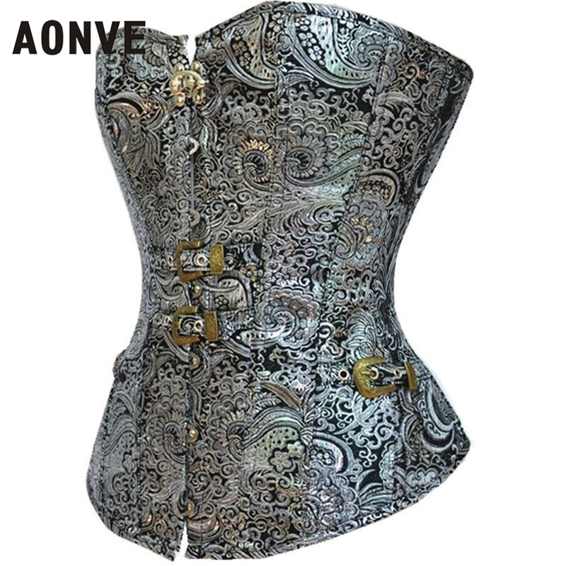 AONVE Steampunk Corset Sexy Gothic Clothing Vintage Waist Trainer Modeling Strap Lace up Bustiers Retro Button Korselet