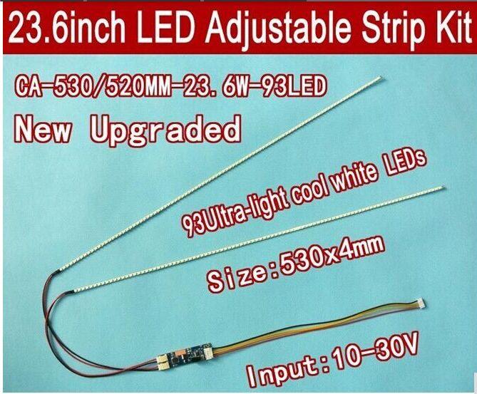2PCS/LOT 530mm Adjustable Brightness Ccfl Led Backlight Strip Kit,Update 23.6inch Ccfl Lcd Monitor To Led Bakclight