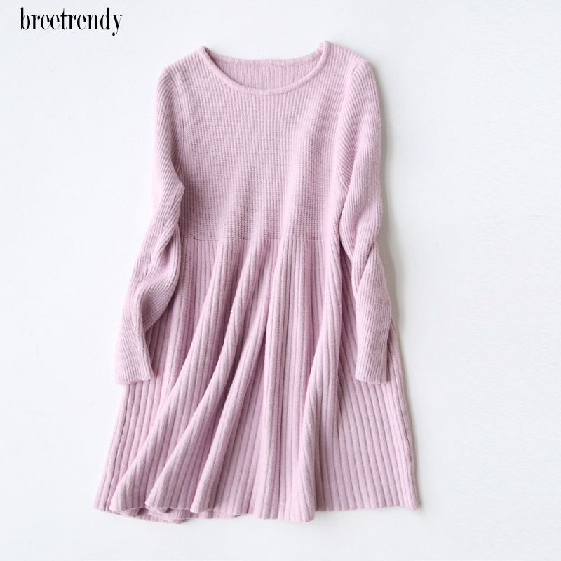 J877 Korean Fashion Solid Color O Neck Long Sleeve Loose Pullovers Dresses Wool Blends Dress Autumn Winter Women Knit Vestidos