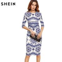 SHEIN Printemps Imprimer Robe Femmes Robes Bleu et Blanc Porcelaine Col Rond Trois Trimestre Longueur Manches Midi Moulante Robe Crayon