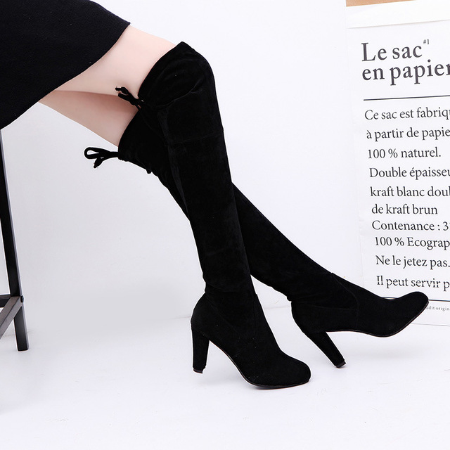 010de64b54f184 Women Faux Suede Thigh High Boots Fashion Over the Knee Boot Stretch Flock  Sexy Overknee High Heels Woman Shoes Black Red Gray88
