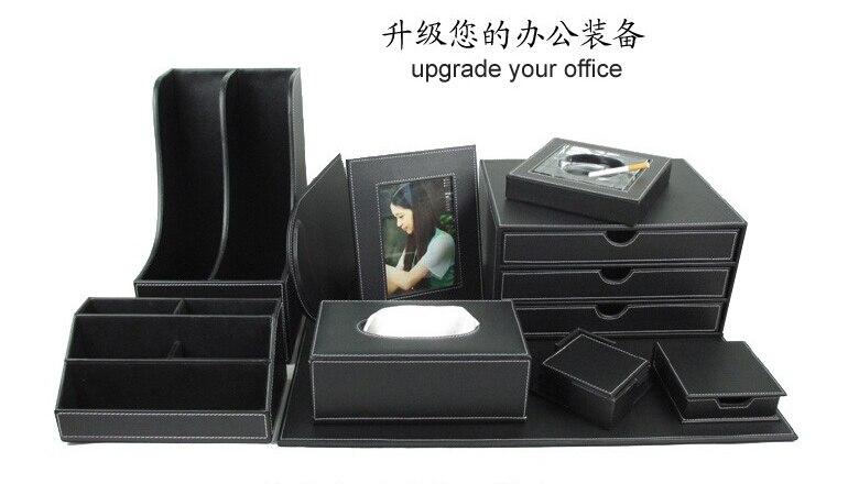 10 pcs ensemble de bureau en cuir bureau fichier papeterie accessoires organisateur titulaire auriculares souris pad organizador oficina tz009 dans