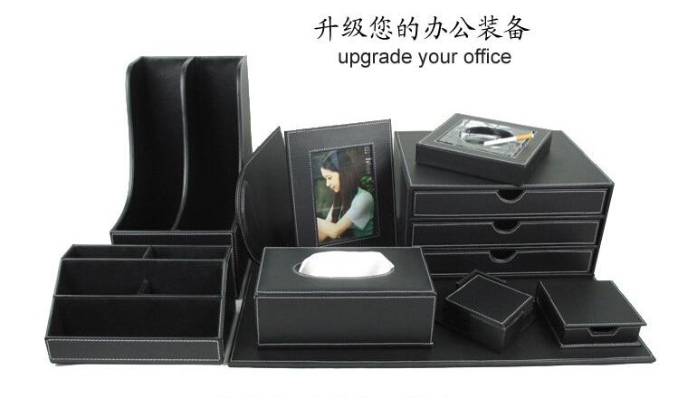 Accessoires bureau cuir for Set de bureau fantaisie