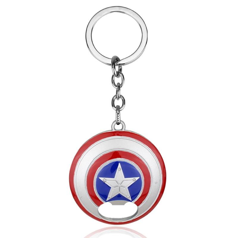 New Design Comics Super Hero Captain America Avengers Bottle Opener Alloy Keychains Gift For Fans Movie Jewelry Llavero