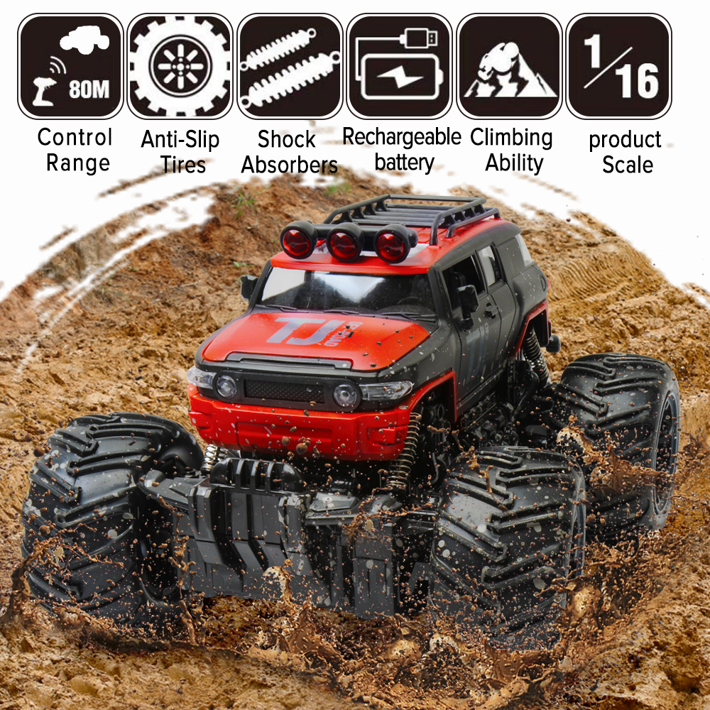 2.4G Scale Rock Crawler RC Car Supersonic Monster Truck Off-Road Vehicle Buggy Remote Control Car Toys Gifts for Kids Big Sale