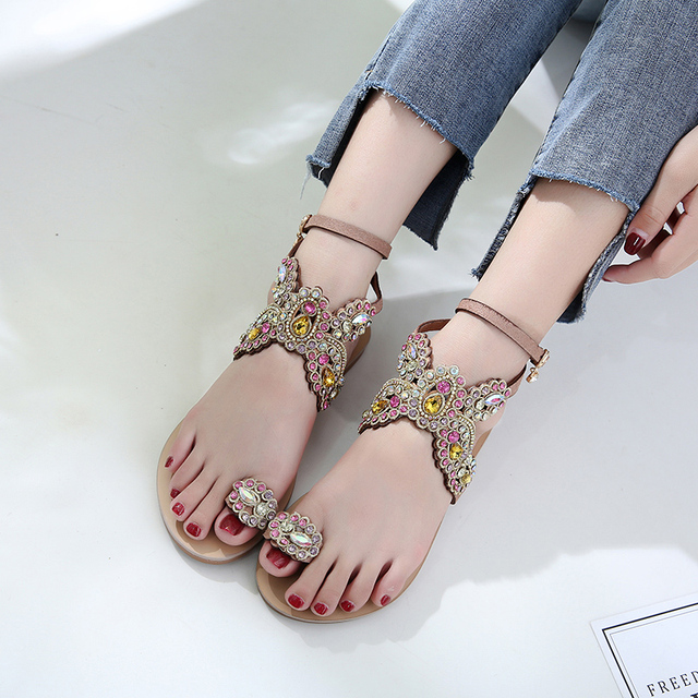 47f72fd350a44d Flat Heels Shoes 2018 Fashion Flip Flops Summer Shoes Gladiator Crystal  Rhinestone Sandals woman thong sandal butterfly