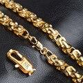 Europeu moda dominador Homem colar Pulseira Cadeia de Caixa Grande Conjunto De Colar Único Banhado A Ouro Na Moda Conjunto de Jóias de 9 MM de Espessura