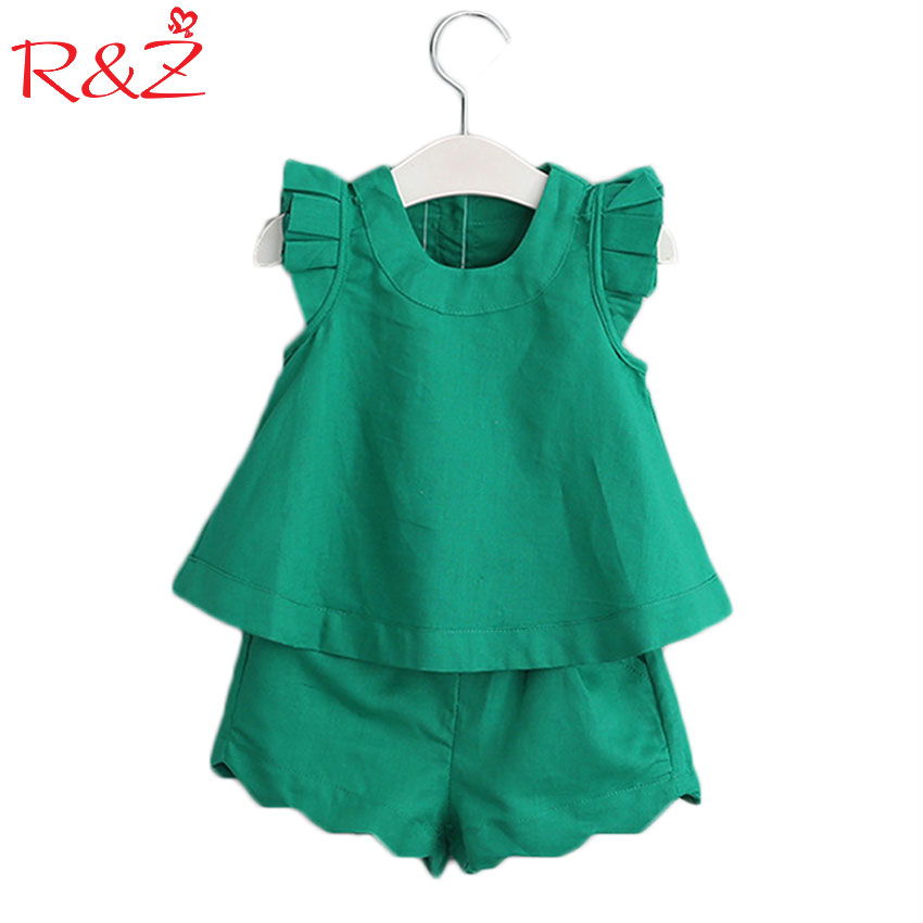 a1fb281b3a08b3 R Z 2017 New Spring Summer Girls Clothing Sets Shirt + Short 2 Pieces Suits  Flying Sleeves