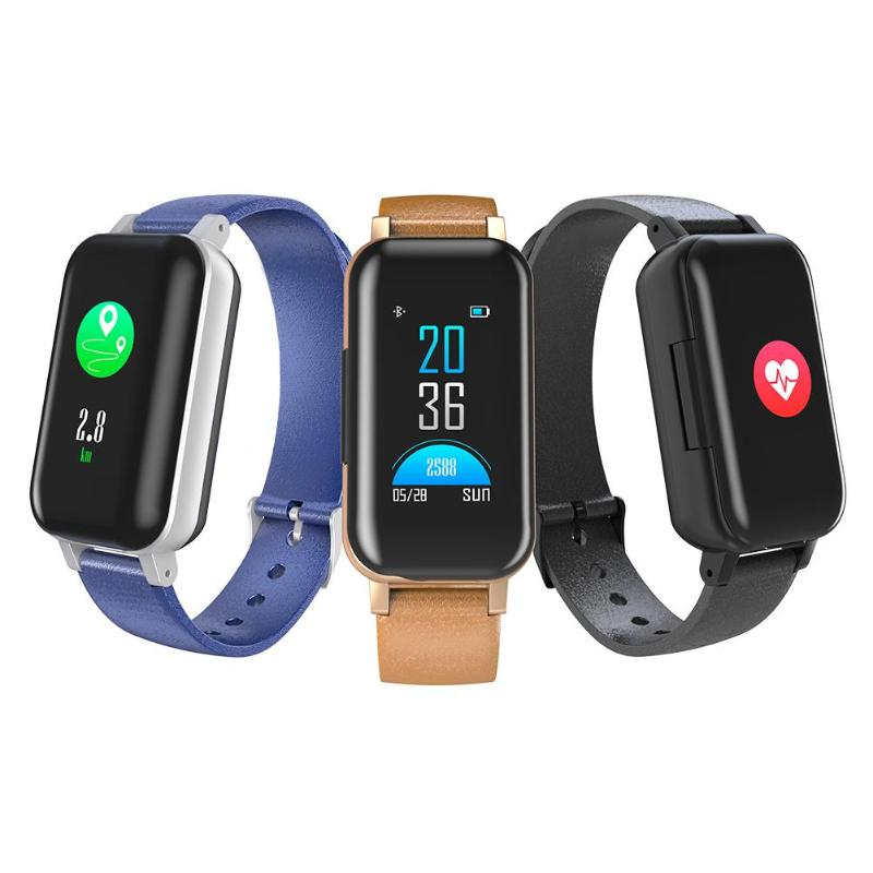 <font><b>T89</b></font> <font><b>TWS</b></font> Binaural Bluetooth Headphone Heart Rate Monitor Smart Wristband image