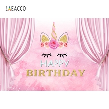 Laeacco Unicorn Birthday Party Backdrop Pink Curtain Baby Child Family Portrait Photography Background Photo Studio