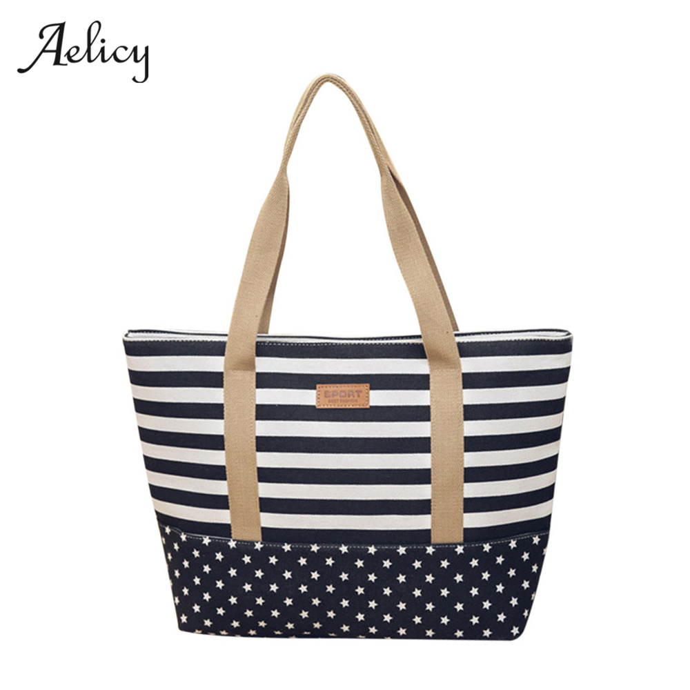 Aelicy 2017 Women Large&Small Canvas Bag Fashion Color Striped Printing Handbags Ladies Shoulder Bag High Quality Bolsas 0922 striped travelling carrying bag for cats small