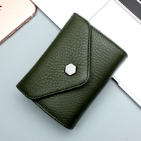 QIAOBAO High Grade Oil Wax Cowhide Leather Short Paragraph Ladies Leather Wallet Large Capacity Women S